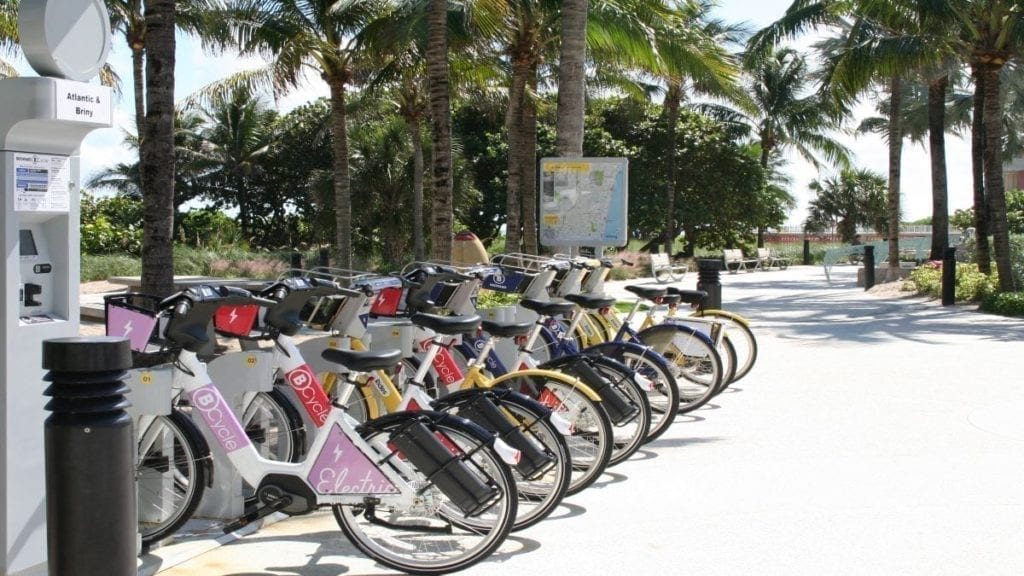 bicycles in bike rack at the beach